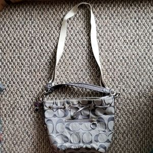 2012 Coach grey bucket purse with keychain